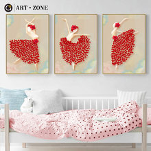 ART ZONE Cartoon Dance Girl Canvas Oil Painting Home Decoration Nordic Craft Paint Wall Art Decor Poster For Girl Bedroom(China)