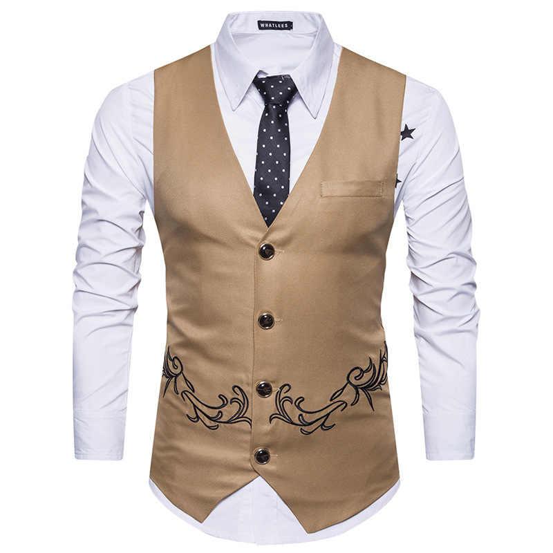 Marke Neue Ärmellose Weste Männer 2018 Fashion Floral Stickerei Slim Fit Anzug Weste Männer Hochzeit Party Business Westen Westen