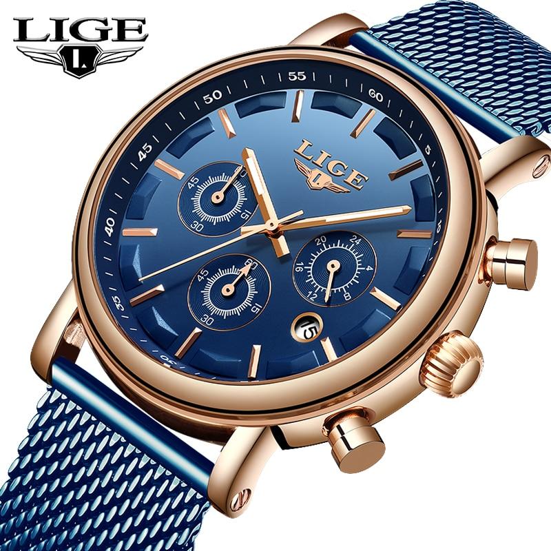 LIGE Top Brand Luxury New Men s Watches Fashion Waterproof Stainless Steel Quartz Watch Mens Casual