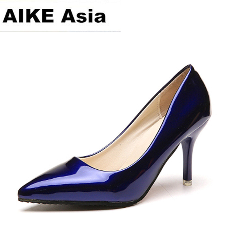 Women Shoes Pumps Dress Pointed-Toe High-Heels Blue Sexy Patent Leather HOT Mujer Boat