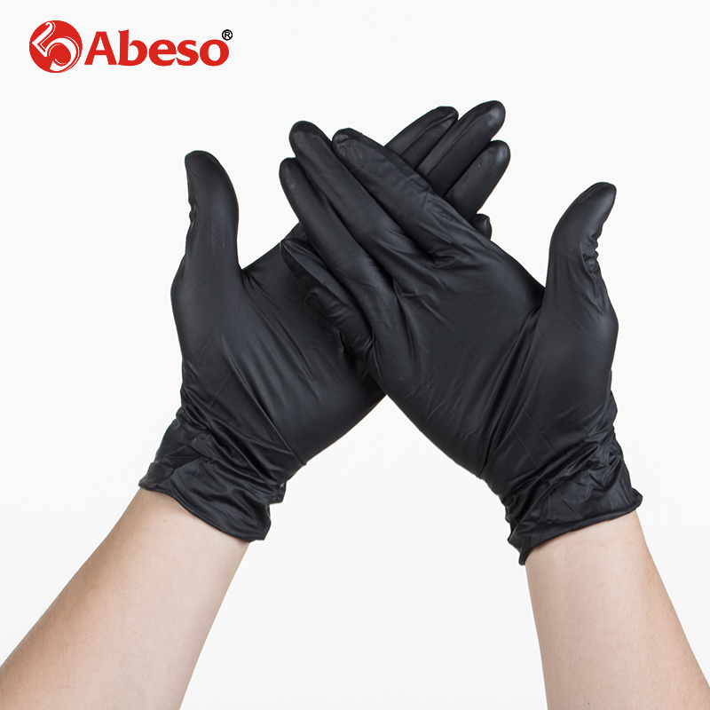 ABESO NBR latex black disposable gloves 100 pcs/ box for food home cleaning Acid Alkali resistance antiskid golves A7103 free shipping household natural latex thicken acid alkali resistant gloves safety gloves waterproof resistance soiling