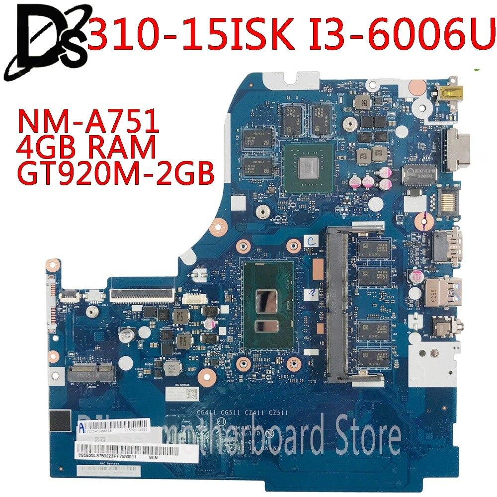 KEFU NM-A751 motherboard para Lenovo 310-15ISK 510-15ISK laptop motherboard Para I3-6006U/I3-6100U 4GB RAM GT920M-2GB Teste OK