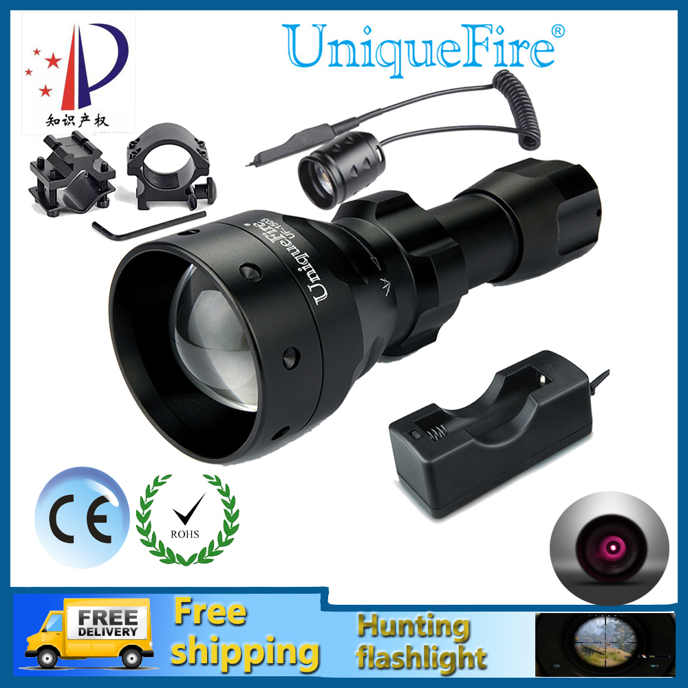 UniqueFire 1503 IR 850NM Night Vision Hunting Flashlight Infrared Light Waterproof LED Torch+Charger+Tactical Remote+Scope Mount waterproof flashlight uniquefire infrared night vision 1503 ir 940nm zoomable led flashlight charger tactical remote scope mount