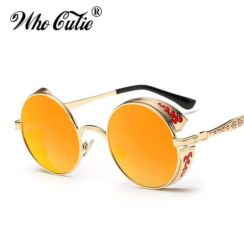 39fe496915 WHO CUTIE 2018 Celebrity Round Steampunk Sunglasses Men Women Metal Frame  Circle Clear Lens Gothic Punk Sun Glasses Shades OM351-in Sunglasses from  Apparel ...