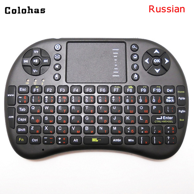Russian 2.4Ghz Wireless Mini Keyboard Multifunction Keypad Air Mouse 2 in 1 Remote Control for PC Pad Android TV Box HTPC IPTV