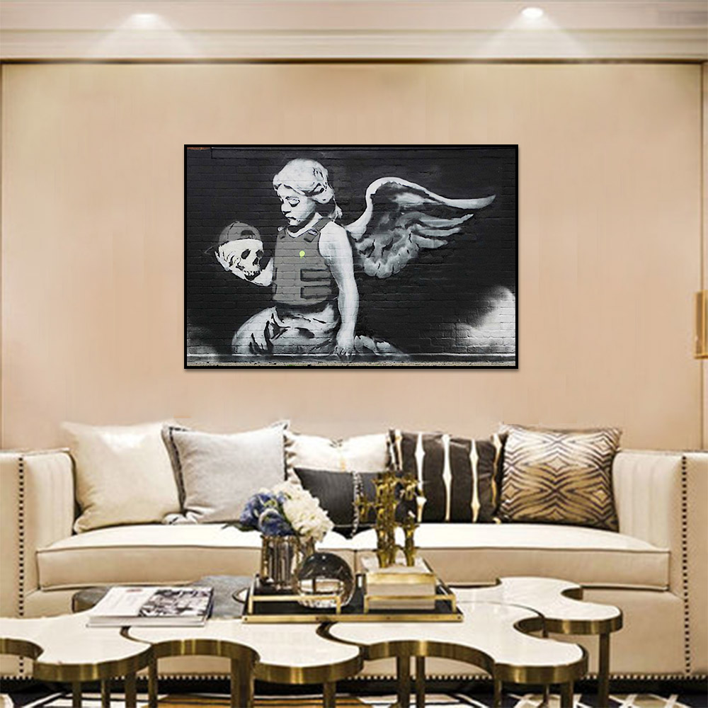 Unframed Canvas Prints Painting On The Wall Angel Skull Prints Wall Pictures For Living Room Wall Art Decoration