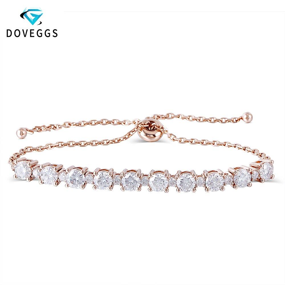DovEggs classique 18 K or Rose 2.8ctw F couleur Moissanite diamant Bracelets pour femme Bracelets de Tennis réglables cadeau saint-valentin