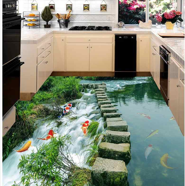 3D wallpaper floor for living room fish liver 3D wall murals wallpaper floor Custom Photo self-adhesive 3D floor