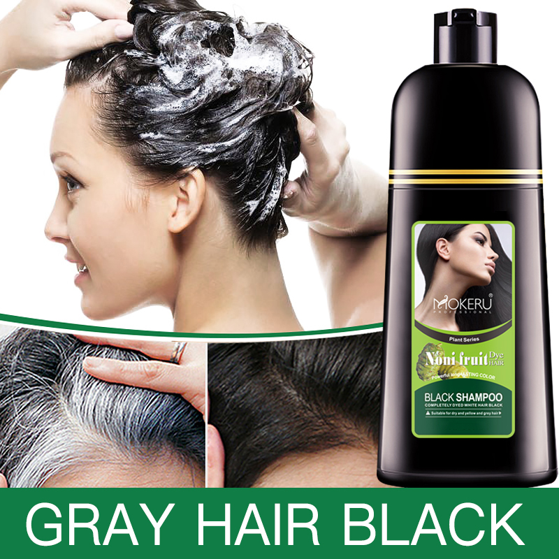 Mokeru Organic Natural Fast Hair Dye Only 5 Minutes Noni Plant Essence Black Hair Color Dye Shampoo For Cover Gray White Hair image