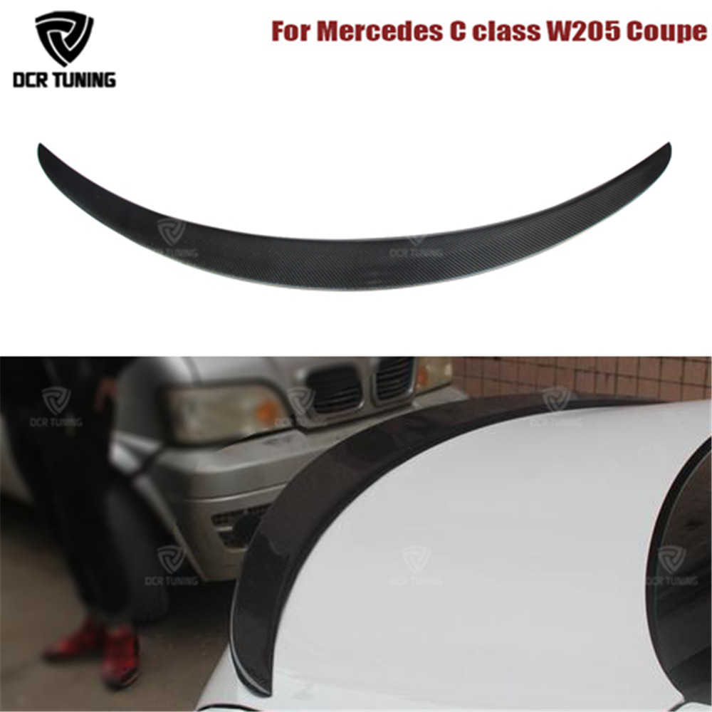 For Mercedes W205 Spoiler Carbon Fiber Rear Trunk Spoiler wing C200 C300 C180 Coupe 2 Door Car 2014 - UP for mercedes w205 carbon spoiler amg style coupe c class w205 c200 c300 c180 carbon fiber rear spoiler rear trunk wing 2014 up