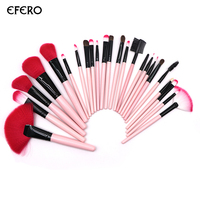 Efero 2 Satz Rosa Make-Up Pinsel für Wimpern Augenbrauen Schatten Foundation Textmarker Bilden Set Makeup Tools mit Halter PU tasche