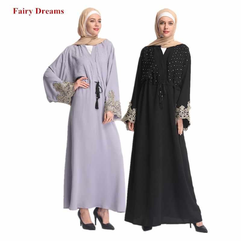Черный, серый, Турецкая абайа, Дубай, Женский мусульманский кардиган-кимоно из бисера, Бангладеш, длинный халат, хиджаб/кафтан, кафтан, Исламская одежда 2019