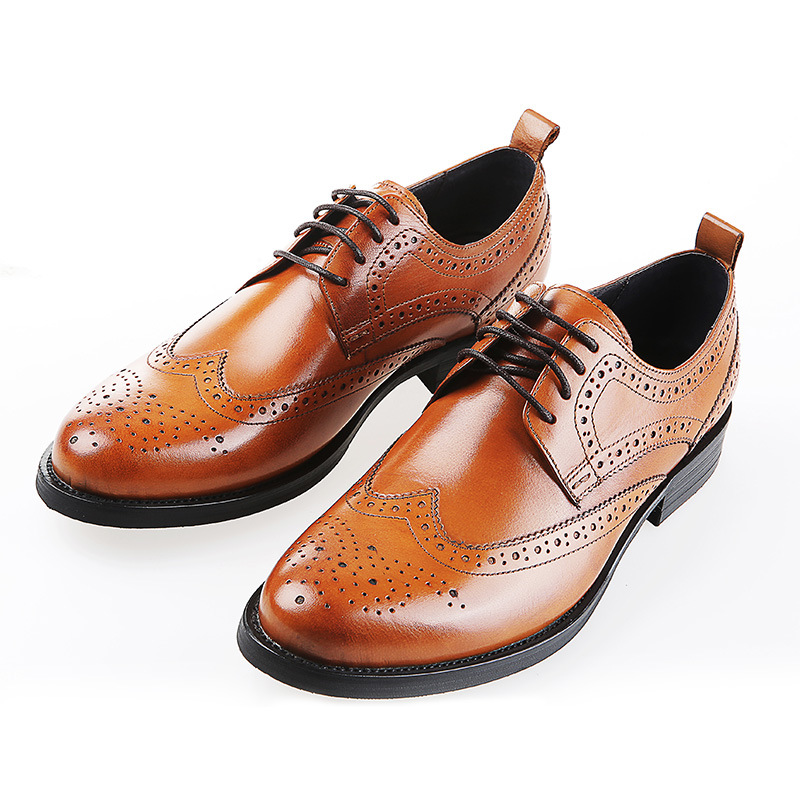 High-quality business men's shoes pointed new British dress genuine leather breathable lace