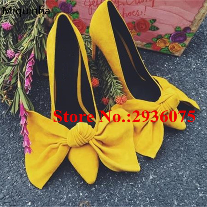 ФОТО Yellow Suede Leather Bow Tie Embellished Pumps Butterfly-Knot Pointed Toe Shallow Stiletto High Heels Slip-On Sexy Shoes Woman