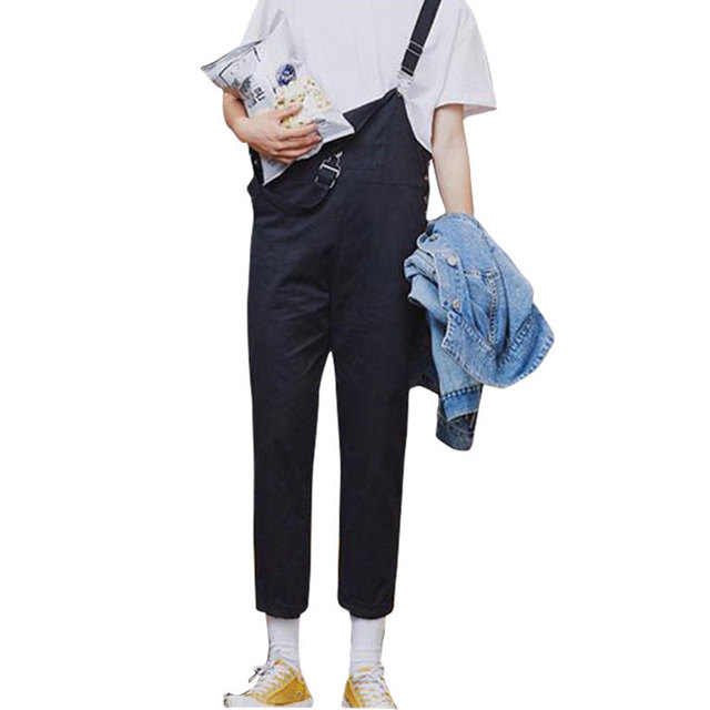 86a9802c60b Fashion Couple Summer Bib Overalls Joggers Pants Men Slim Suspenders Pants  Male Casual Black and Yellow Jumpsuit Ankle Length