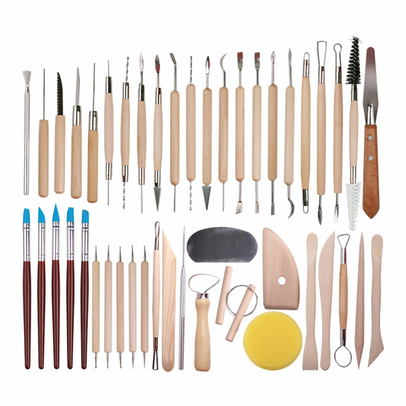 New 45 Pcs Pottery Clay Sculpting Tool Sets For Beginners Professional Art Crafts Wooden Handle Modeling Ceramic Clay Tools