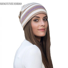 HANGYUNXUANHAO 2019 Women Autumn Winter Hats Elastic Knitted  Cotton Gorro Color Matching Beanies Cap High-end Cute Casual