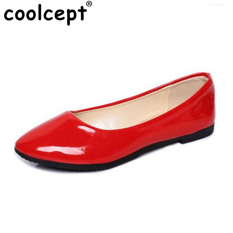 Coolcepet Candy Women Flats Shoes Pointed toe Leisure Concise All Match Square Heels Women Brand Daily Women Footwear Size 35-42