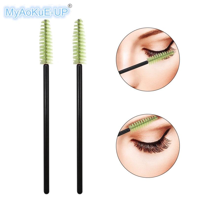Black +Green Disposable Eyelashes Nylon Mascara Wands Applicator 200 Pcs Makeup Brush For Eyelash Extension Brush
