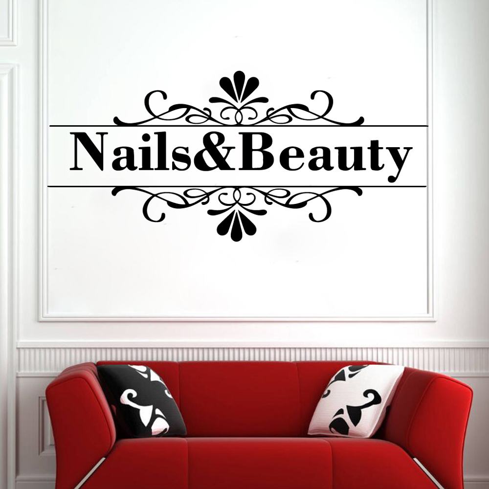 Vinyl Nail Beauty Wall Sticker DIY Wallpaper For Nail Salon For Girl Bedroom Home Decor Art Wall Stickers