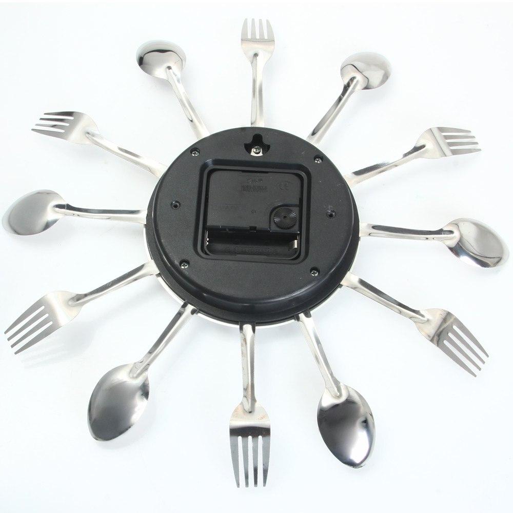 3d digital stainless steel knife fork modern design wall clo
