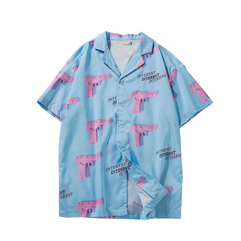 Fashion Shorts Sleeve Shirts Men Women Japanses Streetwear Full Printing Turn-down Collar Couple Hawaiian Casual Summer Shirts