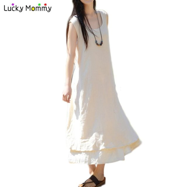 49e36149de3 Long Maternity Dress for Pregnant Women Summer Cotton Linen Maternity  Clothes Casual Loose Gestantes Roupas Pregnant