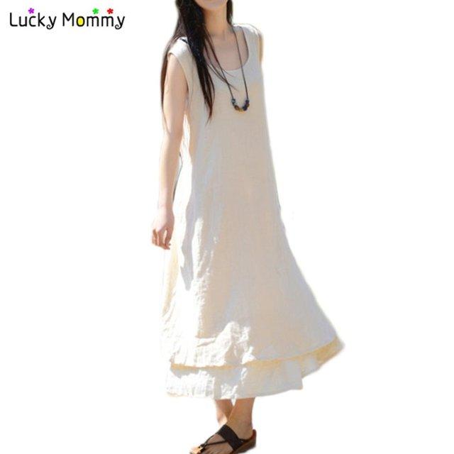 c5407e2e41516 Long Maternity Dress for Pregnant Women Summer Cotton Linen Maternity  Clothes Casual Loose Gestantes Roupas Pregnant
