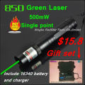[RedStar] 850 Laser Gift set 500mW Green laser pointer Red laser pointer single point include 16340 battery and charger & box