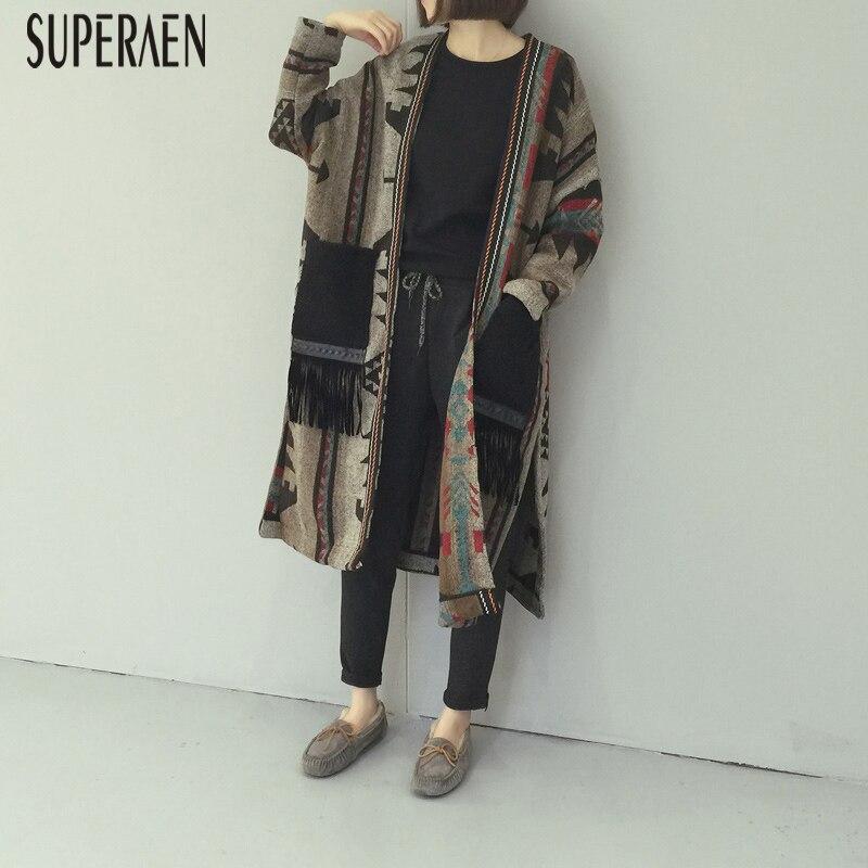 SuperAen Autumn and Winter New 2018 Women Woolen Coat Casual Wild Loose Long Coat Female Split