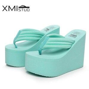 Image 5 - XMISTUO מוגבר 12cm מדרון עם עבה קרום מאפין עמיד למים סנדלים ונעלי פליטה נקבה גבוהה עם את פשוט flip צונח