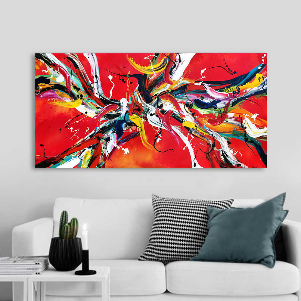 HDARTISAN Wall Art Canvas Abstract Painting Red Picture Print Poster For Living Room Home Decor No Frame