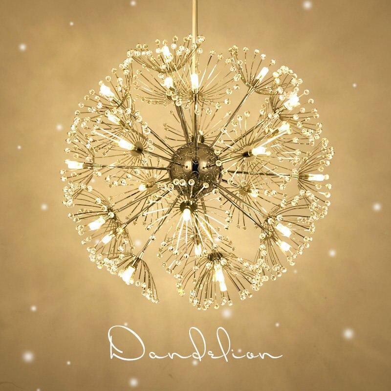Led Crystal Ball Pendant Light Modern Dandelion Dining Room Restaurant Design Lamp Home Decor Chrome Fixture