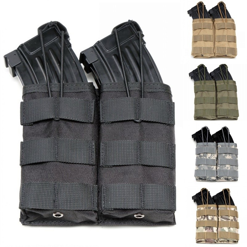 CQC Molle System 1000D Nylon Double Open Top M4 Magazine Pouch Airsoft Tactical AK AR M4 AR15 Rifle Pistol Mag Pouch 440c stainless steel folding knife with hanging buckle