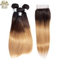 King Hair Peruvian Hair Bundles With Closure 1b/4/27 Straight Hair Weave Bundles 3pcs Remy Ombre Bundles With Closure Free Part