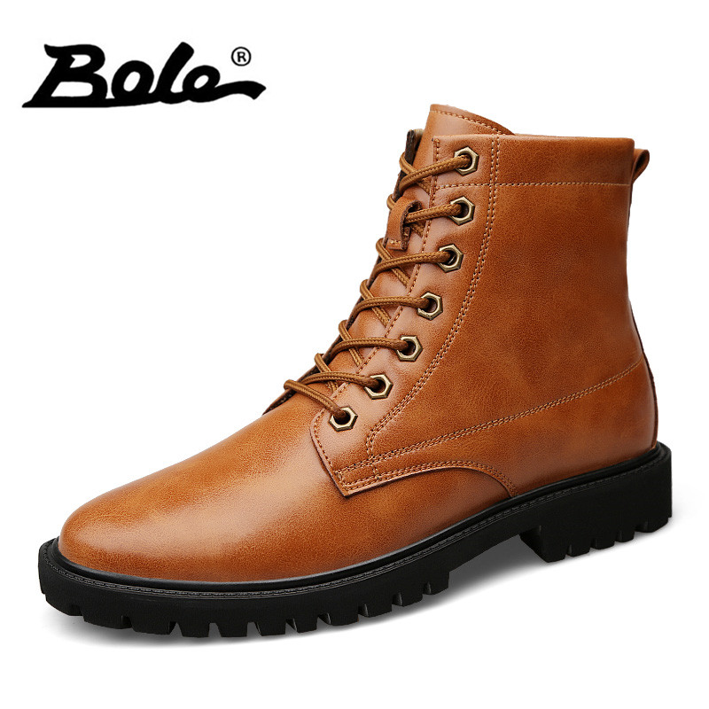 BOLE Large Size Handmade Leather Motorcycle Boots Men Waterproof Buckle Military Desert Boot Fashion Lace Up Men Ankle Boots