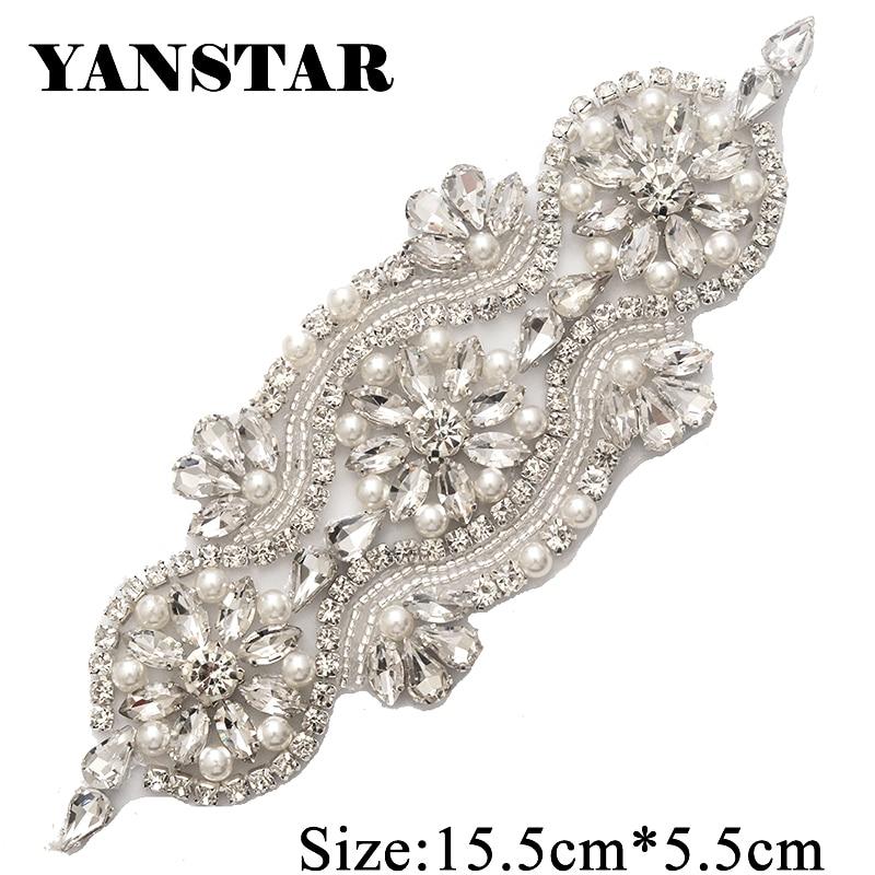 2PIECE Handmade Rhinestones Appliques Sewing On Wedding Dresses Belt Sashes  Rose Gold Silver Pearl Crystal DIY b840dba15cbf