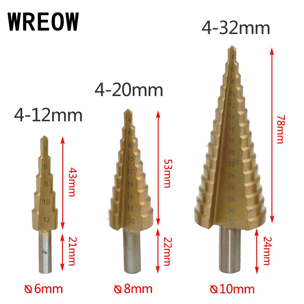 4-12-20-32mm Titanium Step Drill Bit HSS Step Cone Hole Cutter Tools Metal Drilling Bit Set For Woodworking Carpentry Wood