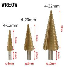 цена на 4-12-20-32mm Titanium Step Drill Bit HSS Step Cone Hole Cutter Tools Metal Drilling Bit Set for Woodworking carpentry wood