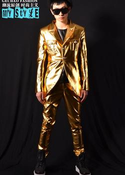 men suits designs homme terno stage costumes for singers men gold tuxedo blazer dance clothes jacket style dress punk rock