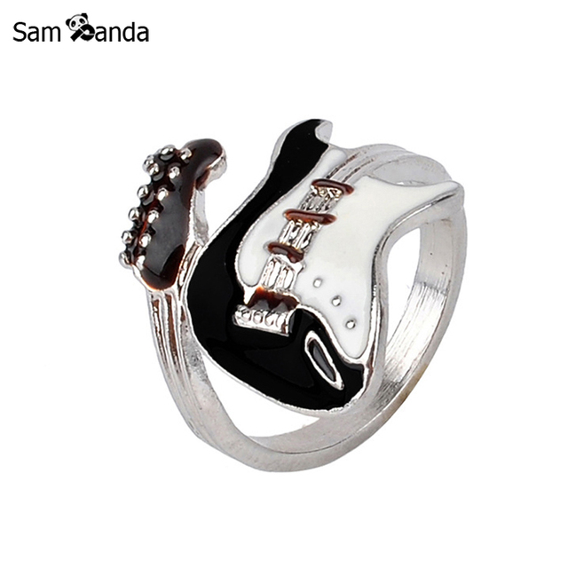 Personalized European Style Punk Style Bright Colorful Glazed Guitar Ring White
