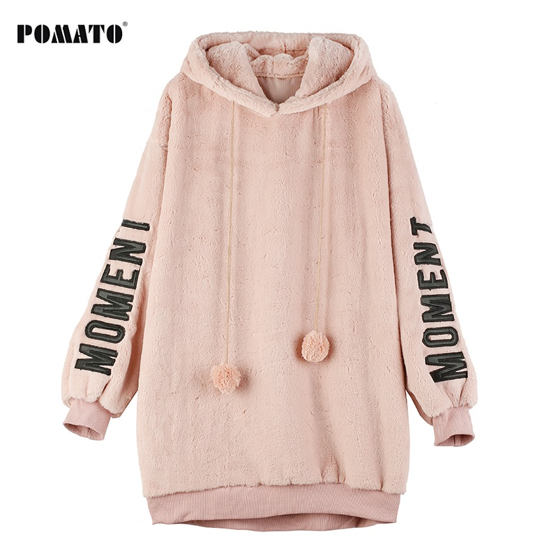 Melinda Style 2017 new women winter sweatshirt rabbit ear hooded pink pullover top letter pattern sleeves top free shipping rabbit print pullover