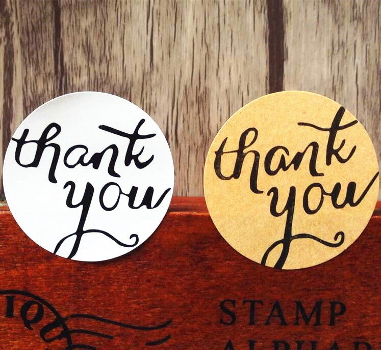 120pcs/lot Circular Thank you white and Kraft Adhesive Seal Sticker for Baking Gift Label Stickers Funny DIY Work
