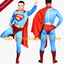 Free Shipping DHL Printing Blue Lycra Zentai Superman Halloween Costume With Red Cloak SH1736