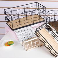 New 2PCs Wooden Bottom Iron Storage Basket Multifunctional Metal Baking Technology Desktop Storage Basket home decor