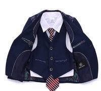 4 Pieces Fashion Deep Navy Blue Stripes Boys Formal Suits Weddings Children Dress Suits For Italian Boys Blazer+Pants+Vest+Tie