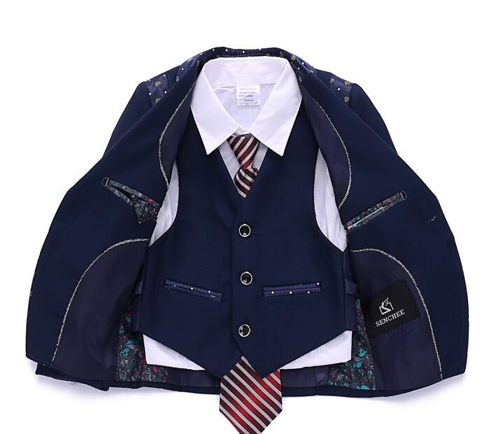4 Pieces Fashion Deep Navy Blue Stripes Boys Formal Suits Weddings Children Dress Suits For Italian Boys Blazer+Pants+Vest+Tie