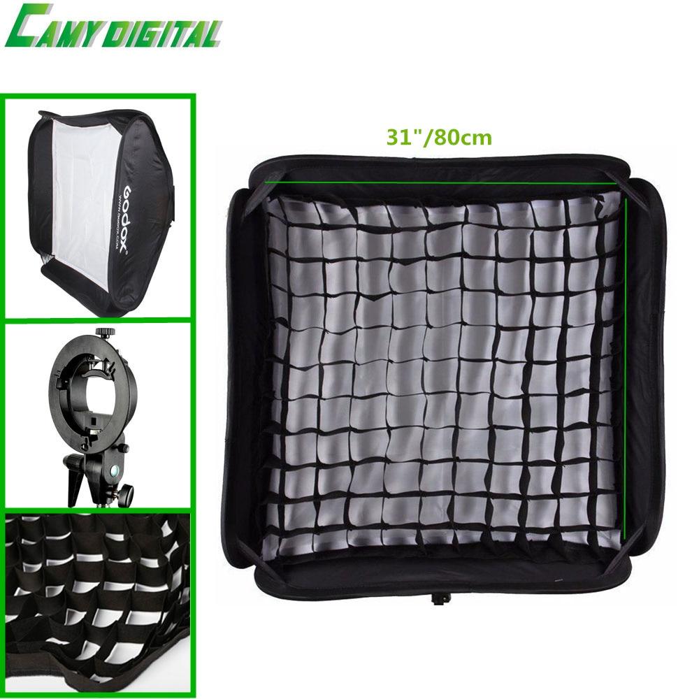 Godox S-Type Bracket Bowen Mount+SoftBox 31/80cm+The Gird Kit For Camera Flash/Speedlite/Honeycomb/SoftBox/Beauty Dish/Umbrella
