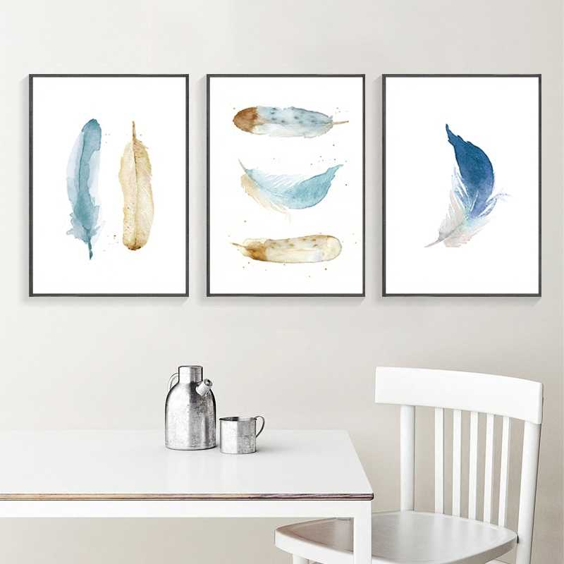 Modern Nordic Watercolor Painted Feathers A4 Print Canvas Art Wall Poster Pictures Home Decorative Paintings No Frames GX
