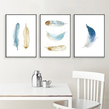 Modern Nordic Watercolor Painted Feathers A4 Print Canvas Art Wall Poster Pictures Home Decorative Paintings No Frames GX(China)
